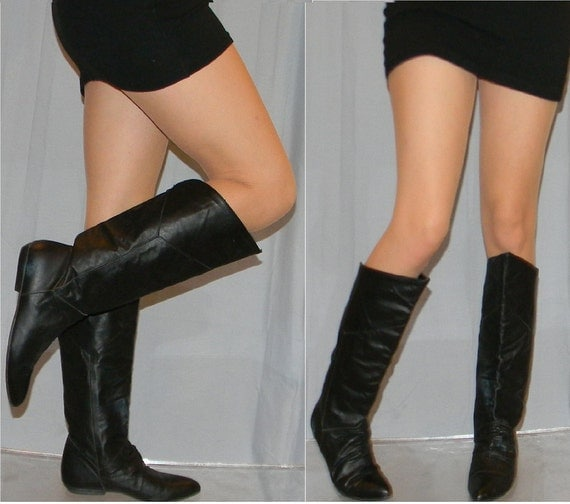 sz 7 80s black leather flat pirate riding slouch boots WILD PAIR