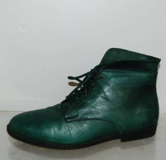 vintage 80s granny boots green leather womens size 9 victorian steampumk