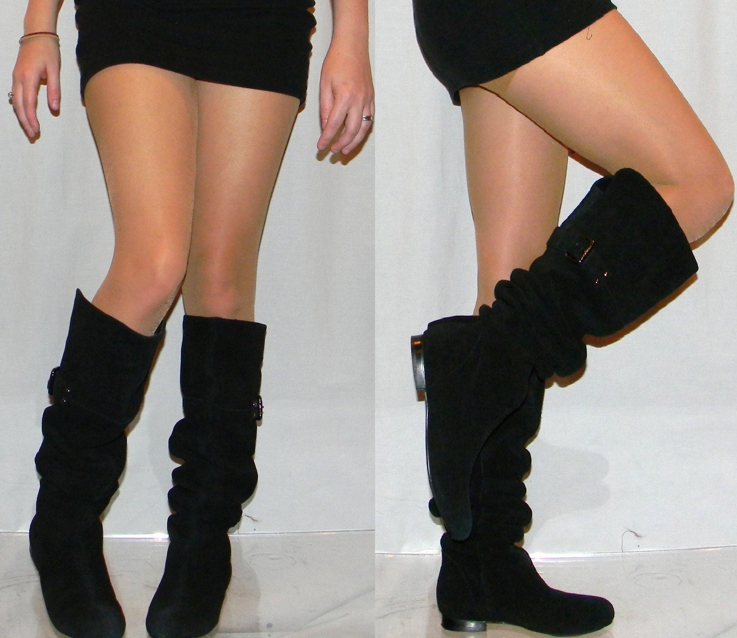 sz 6 6.5 OTK thigh high pirate leather suede flat slouch
