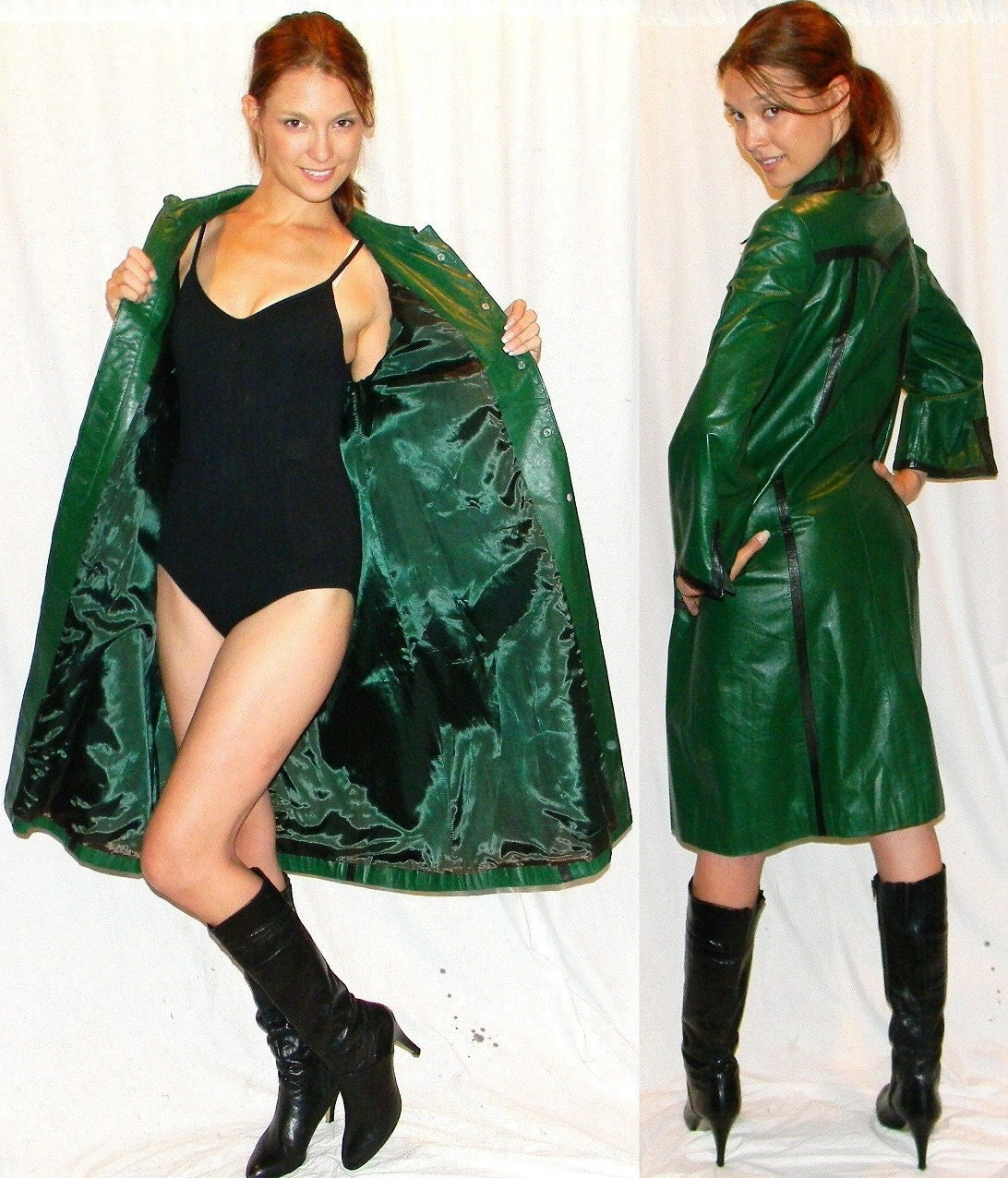 ultra MOD 60s green leather womens trench rain coat