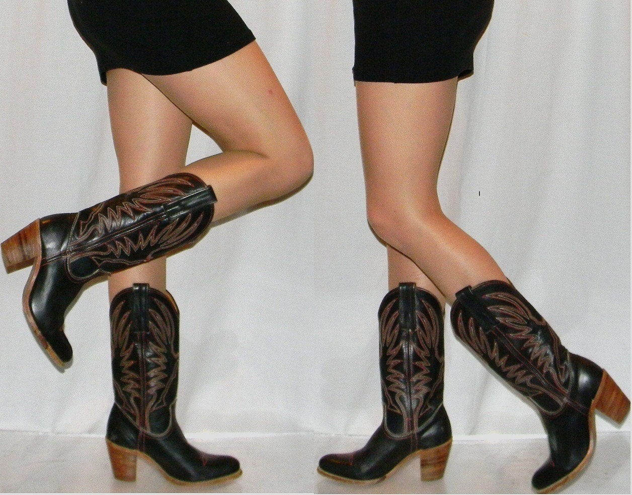 sz 6 FRYE black SEXY 70s 80s womens cowboy by thevintagevoice