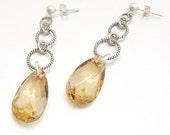 SALE 40% OFF - Elegant Sterling Silver Swarovski Drop Earrings