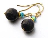 SALE 40% OFF - 14kt GF Blue Goldstone and Swarovski Crystal  Earrings