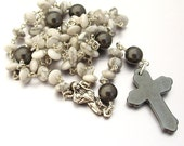 SALE 40% OFF - Howlite & Swarovski Pearl Catholic Rosary