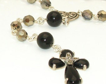 ALL Sterling Silver Catholic Rosary with Swarovski Crystals and Onyx