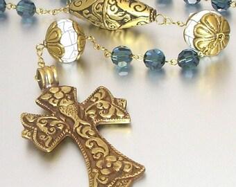 Tibetan Brass and Swarovski Crystal Catholic Rosary