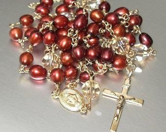 14kt GF Freshwater Pearl and Swarovski Crystal Catholic Rosary