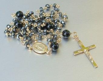 14kt GF Hematite and Black Onyx Catholic Rosary