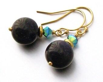 14kt GF Blue Goldstone and Swarovski Crystal  Earrings