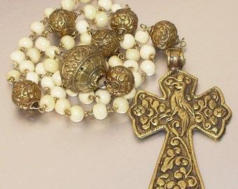Tibetan Brass and Camel Bone Catholic Rosary