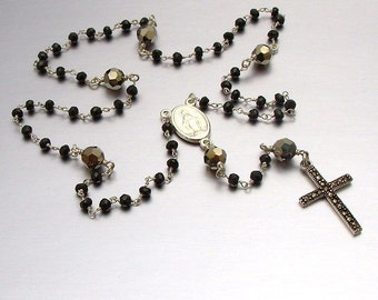 Sterling Silver Black Spinel Ceremonial Catholic Rosary