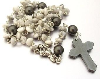 Howlite & Swarovski Pearl Catholic Rosary