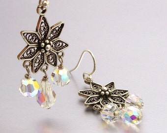Sterling Silver and Swarovski Crystal Drop Earrings