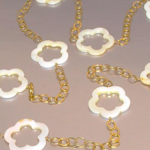 14kt GF Mother of Pearl Flower Station Necklace