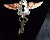 Winged Lock and Key Necklace