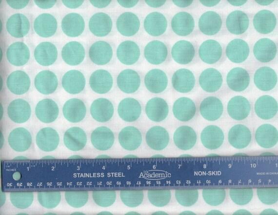 U74 Reclaimed Bed Sheet Minty Fresh Green Circle Dots Fat Quarter  FQ