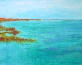"""Large, colorful, abstract seascape, custom painting on 30"""" X 24"""" canvas by Aquagirl Art"""