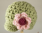 Chunky Green Visor Hat with Large Pink Flower (sizes 6 months to preteen)