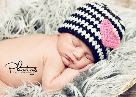 CLEARANCE - Black and White Stripe Beanie with Pink Heart