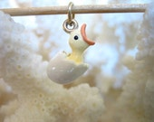 Sterling Silver Enameled Vtg Design CHICK IN EGG Charm Pendant