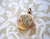 Antique Gold Filled Locket w Script Initials Monogram and Clear Paste Stone