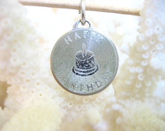 Vintage Sterling Silver HAPPY BIRTHDAY Charm Pendant