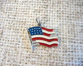 Vintage Sterling Silver Enamel USA FLAG Charm