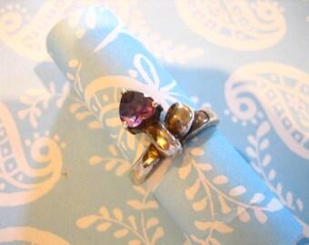 Vintage Sterling Silver Amethyst Heart Ribbon Ring