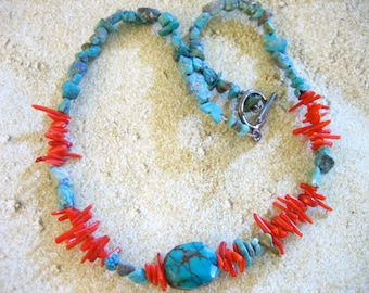 Vintage Turquoise and Spiny Coral Necklace with Sterling Silver Closure