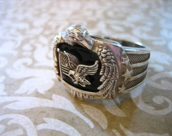 LARGE Vintage Sterling Silver God Bless America Onyx and Eagle Ring