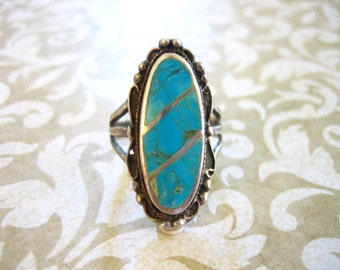 Vintage Sterling Silver Indian Inlaid Turquoise Ring