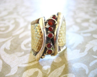 Vintage Yellow Gold and Sterling Garnet Ring