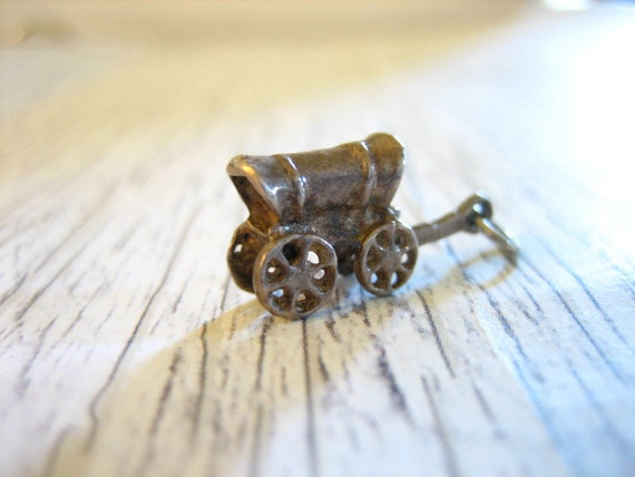 Vintage Sterling Silver Covered Wagon Charm Pendant