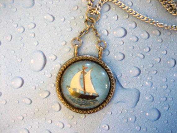 Vintage Reverse Painted Sail Boat Cabochon Pendant Necklace