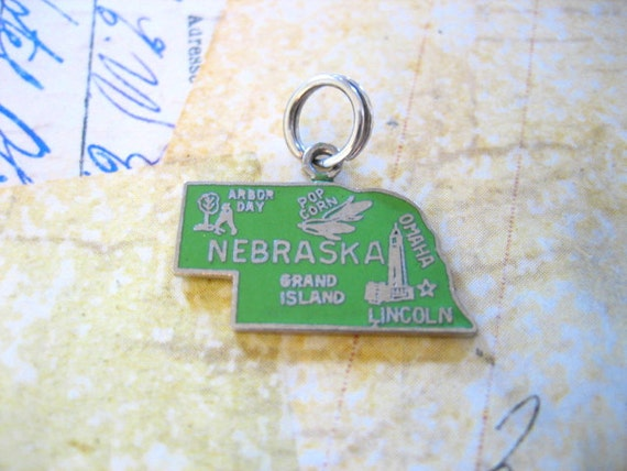Vintage Sterling Silver Enamel NEBRASKA State Travel Charm