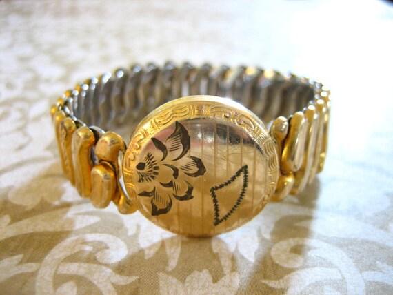 Art Deco Gold Filled Sweetheart Expandable Bracelet