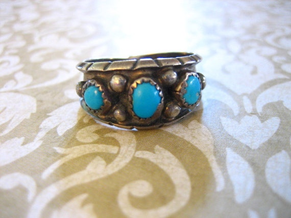 Vintage Sterling Silver Turquoise Band Ring