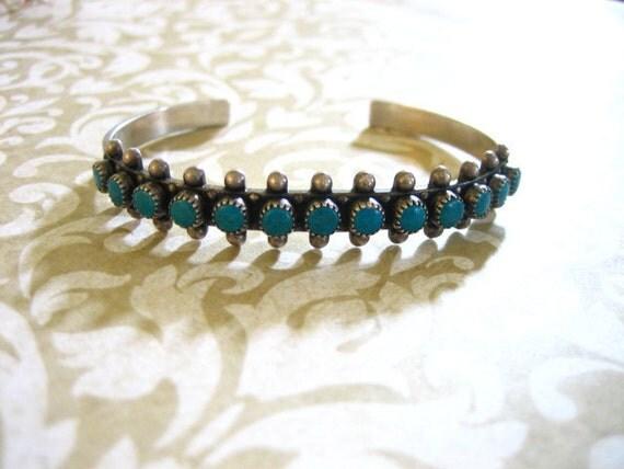 Vintage Sterling Petit Point Turquoise BRACELET Cuff
