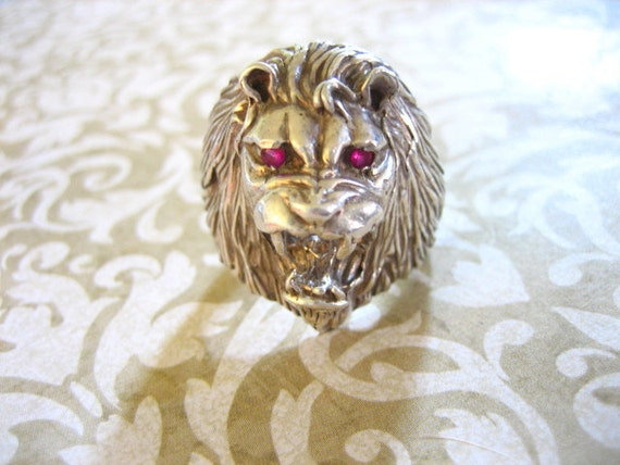 RESERVE foe Mikeriver49 Vintage Sterling Silver Detailed Roaring Lion Ring w Ruby Eyes
