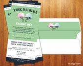 Gender Reveal Invitation - Baby Shower  - Gender Reveal Party - Football Ticket - The ORIGINAL Copyright 2010