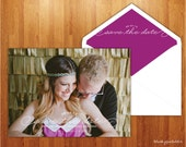 Whimsical Purple and Gold Save the Date Card - Photo Engagement Announcement - 5x7 JPEG Printable Card