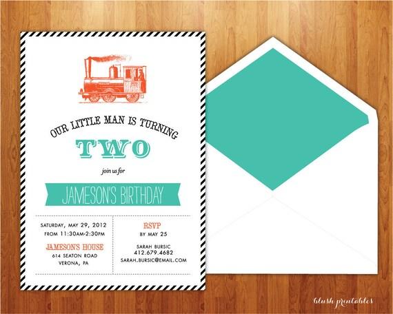 ChooChoo Train - Birthday Invitation- Printable JPEG - 5x7 Birthday Invitation - Boy Party Invitation - Vintage Train