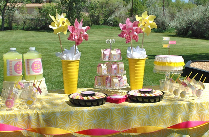 Pink lemonade party printable decor stickers