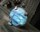 Capture The Moon Necklace Rustic Prong Set Labradorite Vivid Blue Flash Sterling Silver Metalwork