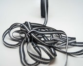 Grosgrain Stripe Stitch Ribbon -- 3/8 inch -- Black White