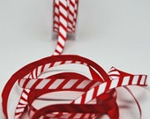 Candy Cane Stripe Ribbon -- 3 / 8 Inch -- Red White Peppermint Stripe
