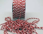 Candy Stripe Twisted Rope -- Red White -- 1/16 inch -- Peppermint Red White