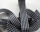 Gingham Ribbon -- 1.5 inches -- Black with White