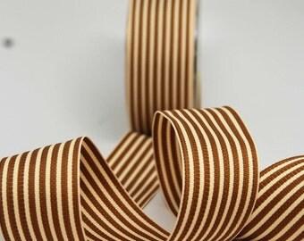 Striped Grosgrain Ribbon -- 1.5 inches -- Caramel Creme