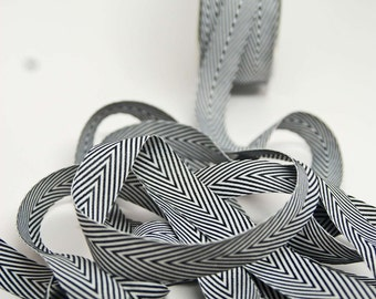 Striped Chevron Twill Ribbon -- 3/4 inch -- Black White